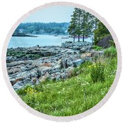 Port Clyde From Marshall Point Round Beach Towel by Daniel Hebard