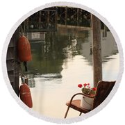 Port Clyde Life Round Beach Towel