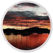 Port Denarau Fiji At Sunrise Round Beach Towel