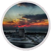 Port Everglades Sunrise Round Beach Towel