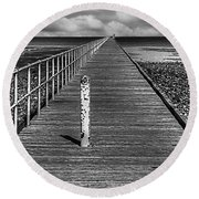 Port Germein Long Jetty Round Beach Towel