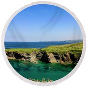 Port Isaac Coastline, Cornwall Round Beach Towel by Chris Smith
