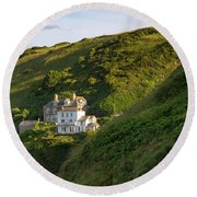 Round Beach Towel featuring the photograph Port Isaac Homes by Brian Jannsen