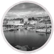 Port Of Angra Do Heroismo, Terceira Island, The Azores In Black And White Round Beach Towel by Kelly Hazel