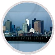 Port Of Boston Round Beach Towel