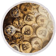 Port Of Corks At The Old Sail Tavern Round Beach Towel
