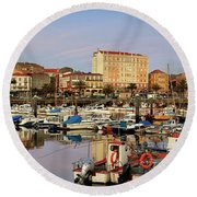Port Of Ferrol Galicia Spain Round Beach Towel