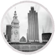 Port Of San Francisco Black And White- Art By Linda Woods Round Beach Towel by Linda Woods