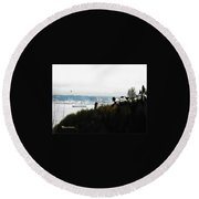 Port Of Tacoma At Ruston Wa Round Beach Towel by Sadie Reneau