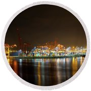 Port Of Vancouver Bc At Night Round Beach Towel