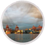 Port Of Vancouver Bc At Sunset Round Beach Towel