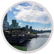 Round Beach Towel featuring the photograph Port Of Vancouver by Ed Clark