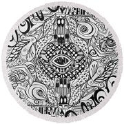 Round Beach Towel featuring the drawing Port Orchard Washington Zentangle Collage by Jani Freimann
