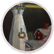 Port Sanilac Lighthouse At Christmas Round Beach Towel