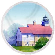 Port Washington Lighthouse Round Beach Towel