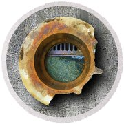 Round Beach Towel featuring the mixed media Portal by Tony Rubino