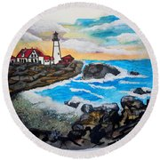 Porthead Lighthouse Maine In Watercolors Round Beach Towel