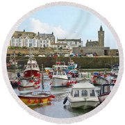 Porthleven Inner Harbour Round Beach Towel