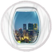 Porthole Frame On Tokyo Tower Round Beach Towel