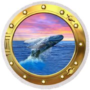Porthole View Of Breaching Whale Round Beach Towel