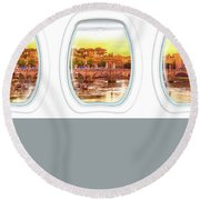Porthole Windows On Rome Round Beach Towel