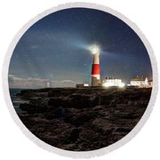Portland Bill Lighthouse Uk Round Beach Towel