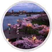 Portland Cherry Blossoms Round Beach Towel