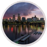 Portland City Skyline Along Willamette River At Dusk Round Beach Towel