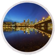 Portland Downtown Blue Hour Round Beach Towel