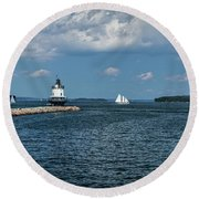 Portland Harbor, Maine Round Beach Towel