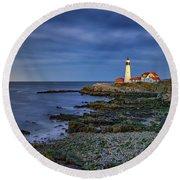Round Beach Towel featuring the photograph Portland Head Aglow by Rick Berk