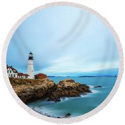 Portland Head Light 1 Round Beach Towel