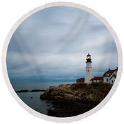 Portland Head Light 2 Round Beach Towel