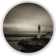 Portland Head Light 3 Round Beach Towel
