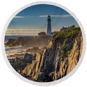 Round Beach Towel featuring the photograph Portland Head Light And The Shores Of Casco Bay by Rick Berk