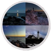 Portland Head Light Day Or Night Round Beach Towel