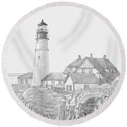 Portland Head Light Drawing Round Beach Towel