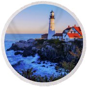 Portland Head Light II Round Beach Towel