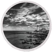 Portland Head Light In Black And White Round Beach Towel