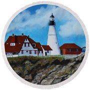 Portland Head Light In Maine Viewed From The South Round Beach Towel
