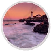 Portland Head Light In Pink  Round Beach Towel