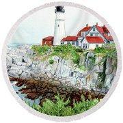 Portland Head Light, Lighthouse Painting, Lighthouse Print, Maine Lighthouse, Round Beach Towel