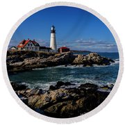 Portland Head Light No.32 Round Beach Towel