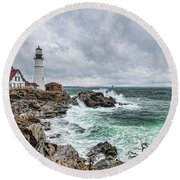 Portland Head Light Nor'easter Round Beach Towel