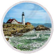 Portland Head Light - Oldest Lighthouse In Maine Round Beach Towel