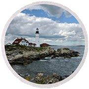 Portland Head Light, Starboard Round Beach Towel