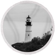 Round Beach Towel featuring the photograph Portland Head Light by Trace Kittrell
