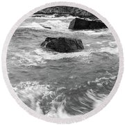 Round Beach Towel featuring the photograph Portland Head Light Under Heavy Skies  -88356 by John Bald