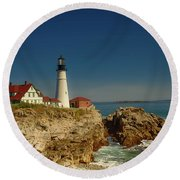 Portland Head Lighthouse 2 Round Beach Towel by Sherman Perry