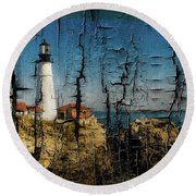 Portland Head Lighthouse 5 Round Beach Towel by Sherman Perry